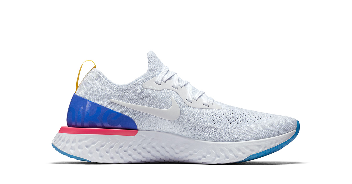 White Nike Epic React Flyknit